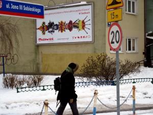 Plakat promujący Siedlce jest. Trochę niewidoczny... Fot. BG