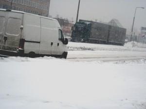 Widoczność na drogach jest ograniczona. Tu: ul. Jagiełły godz.  12:40 Fot. BG