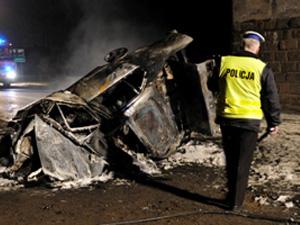 Samochód momentalnie stanął w płomieniach Fot.KWP Radom