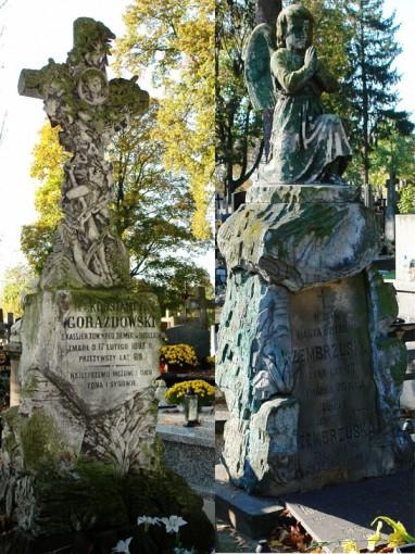 Dwa zabytkowe nagrobki rodzin: Gorazdowskich (pierwszy od lewej) i Zembrzuskich. Fot. źródło MS