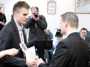 Tomasz Jaszczuk podczas uroczystości w siedleckim magistracie Fot. AB