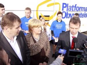 Od lewej: Jacek Kozaczyński, Marta Sosnowska i Andrzej Halicki przed wyborami 2011. Fot. AB