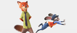 "ZOOTOPIA – Pictured (L-R): Nick Wilde, Judy Hopps. ""It's a nod to the great Disney animated animal films we all grew up with, but with a funny, contemporary twist,"" said director Rich Moore (""Wreck-It Ralph,"" ""The Simpsons""). ""Our artists and animators did tons of research to integrate true animal behaviors into each of our characters. The world of Zootopia is fantastic, infused with international flavor that will be relatable to everyone."" ©2015 Disney. All Rights Reserved."